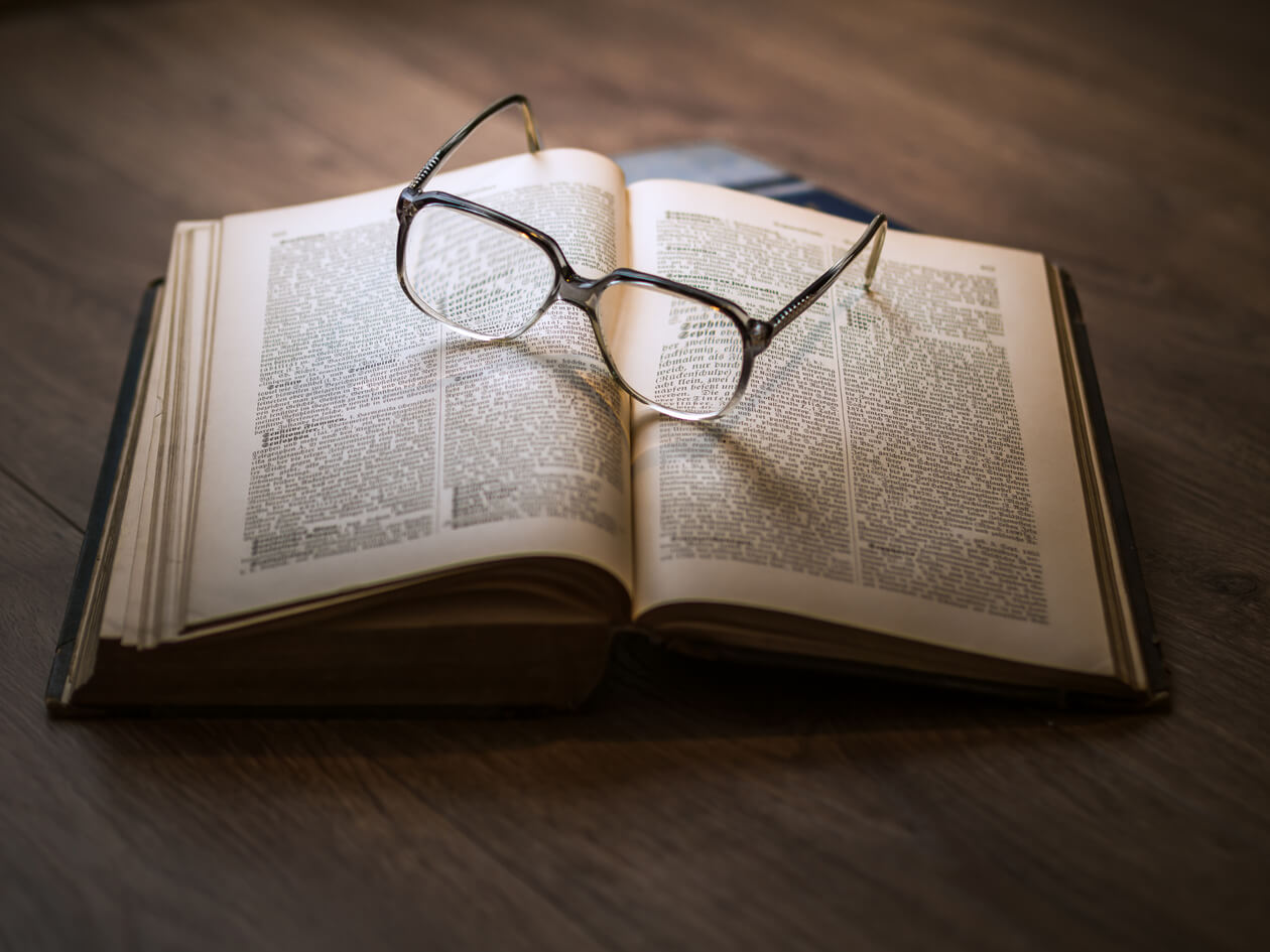 Glasses on a book.
